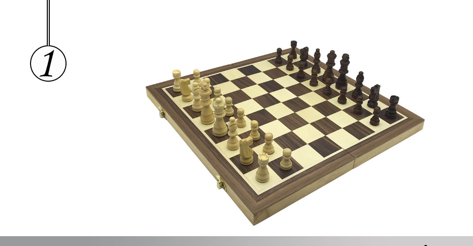 Easytoday Magnetic Folding Chess Games Set Wooden Chessboard Solid Wood Chess Pieces High-quality Table Entertainment Games Gift (1)