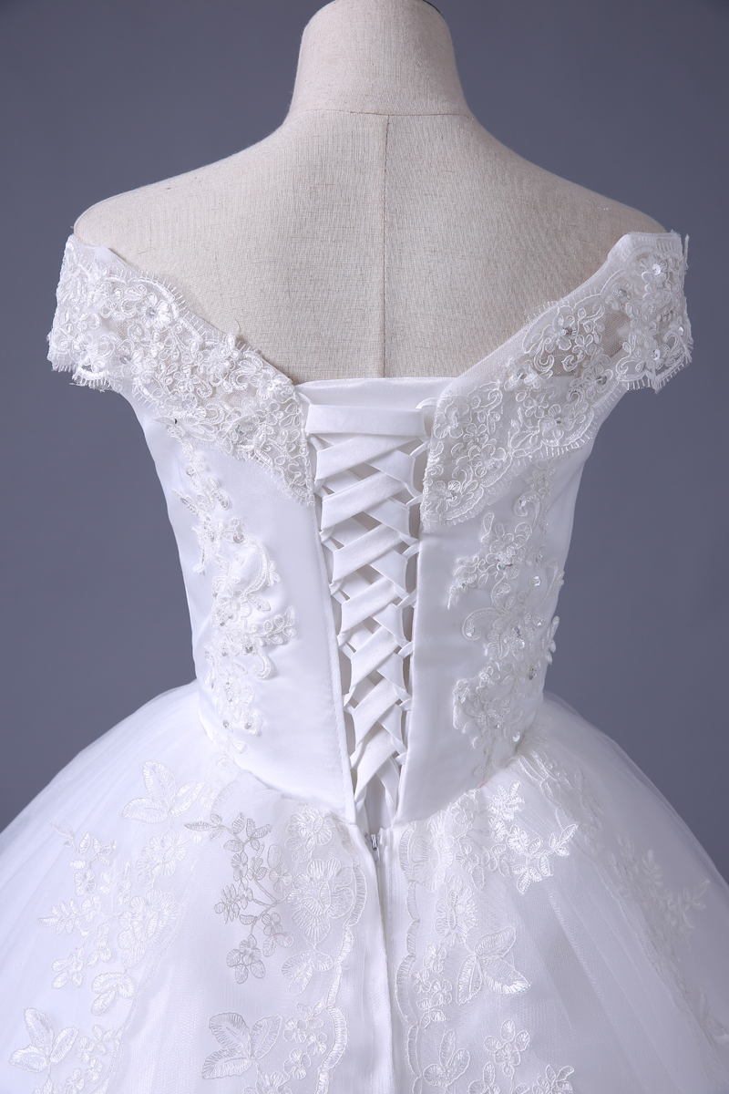 VENSANAC 2017 Free Shipping New A Line Lace Sweetheart Short Sleeve White Satin Bridal Wedding Dress Wedding Gown 30217 8
