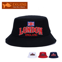 [EXILIENS] 2017 Fashion Brand Bucket Hats Cotton LONDON Casual Fisherman Caps Hip-hop Hats For Men Women Lovely Black Red Hat