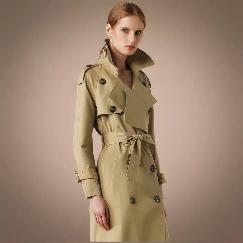 2019 new style women spring clothes apricot khaki two lines bottons lady  Over Coat Long trench british outwear  Plus Size XXL