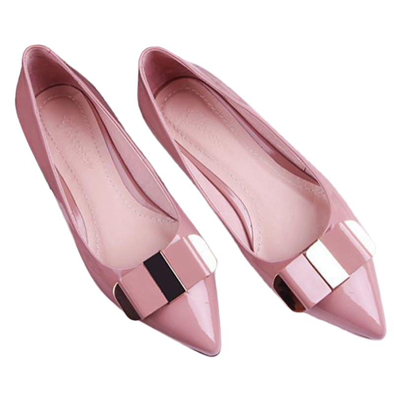 Plus Size 35-40 Flat Shoes Pointed Toe Patent Leather Bow Ladies Business Shoes Loafers Casual Summer Style Shoes BT322<br><br>Aliexpress