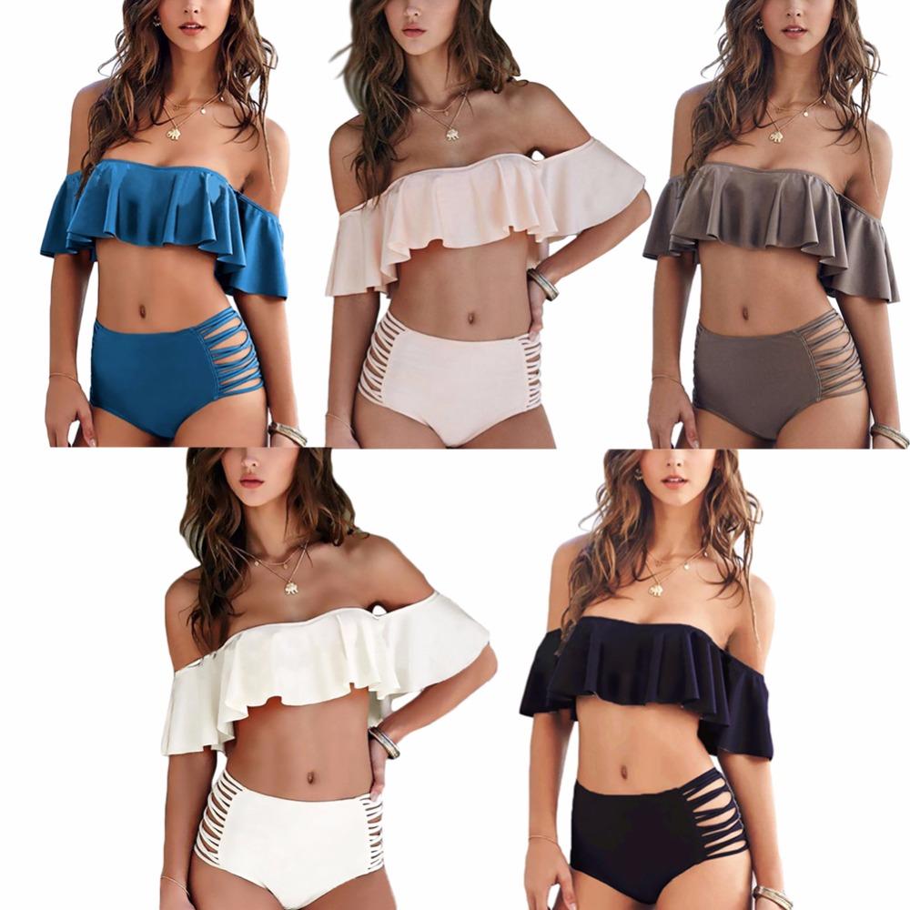 Sexy Ciało Stałe kolor Off Ramię Bikini Set Push Up bandeau bikini 2017 stroje kąpielowe strój kąpielowy Falbala kobiety wysoka talia stroje kąpielowe 2