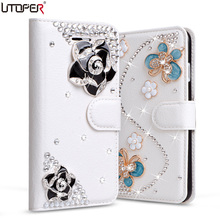 For iPhone SE 5s Wallet PU Leather Diamond Bowknot Case For Apple iPhone 5 5s SE Stand Flip Handmade Cover Rhinestone Phone Bags(China)