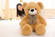 stuffed toy huge 160cm light brown teddy bear plush toy bowtie bear doll soft throw pillow,Christmas gift b1405(China)
