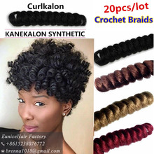 Synthetic Curlkalon curly braiding hair kenzie curls short curly braids hair extensionsu USA UK new fashion curly hair bundles