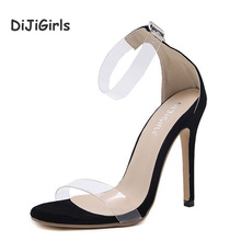 DiJiGirls Women Sandals Ankle Strap Perspex High Heels PVC Clear Crystal Concise Classic Buckle Strap High Quality Fashion Shoes