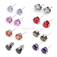 New Fashion 7MM Sparkling Diamante Heart Shape Cubic Zirconia CZ Stainless Steel Stud Earrings For Women Colors Selectable