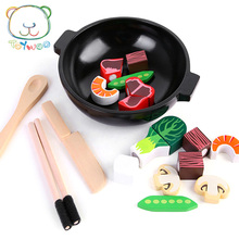 [Toy Woo] Wooden Pretend Play Kitchen Toys Wooden Cutting Magnetic fruits and vegetables Colorful Educational Food Toys for Kids(China)