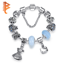 BELAWANG Antique Silver 925 Cute Helo Kitty Charm Bracelet&Bangle with Blue Murano Glass Beads Bracelet for Women DIY Jewelry