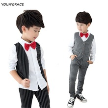 New Design 3Pcs Formal Wedding Striped Suit for Gentle Boys Brand Flower Boys Dress Shirts with Bow Tie Baby Boy Vest Suit,YC172