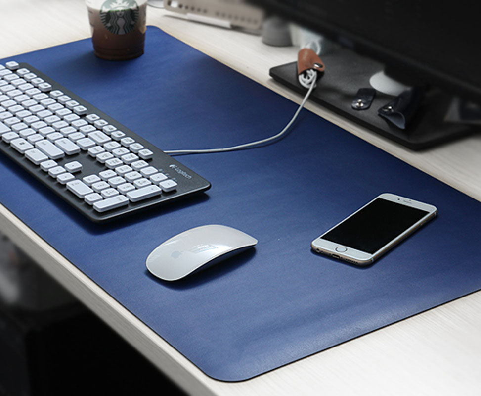 Large Mouse Pad, Leather Desk Pad Extent Mouse Pad Gaming Mouse Pad Office Desk Mat (Blue Red Black)<br>