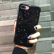 Kerzzil Bling Glitter Soft Silicone Case For iPhone 7 6 8 6S Sky Stars Shining Phone Cover For iPhone X 8 6S 6 Plus Back Coque(China)