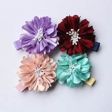 20pc/lot Sun Flower Wine red Floral Girls Hair Clips High Quality Fabric Kids Peach Flower Hairpins Wholesale Hotsale