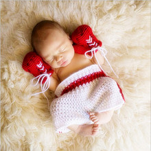Baby boxing gloves costume for boys crochet new born photography props knitted imitated newborns outfit red toddler overalls(China)