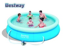 "57274 Bestway 366x76cm (12'x30"") FAST SET POOL REENGINEED with Water Cleaner DRAIN Valve Top-ring Inflate Pool EASY TO ASSEMBLE"