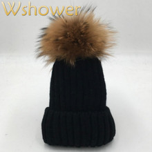 [which in shower] Lady Real Raccoon Fur Pom Pom Knit Winter Bobble hat cap Beanie Women Female Rose Red Gray white Black Fur Hat