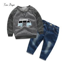 New 2016 Retail Children Set Cartoon Car pattern  fashion suit boys sets t-shirt+jeans 2pcs Kids Clothing