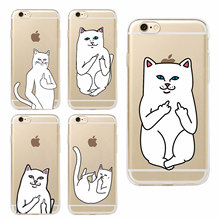 Pocket Cat Middle Finger Cat Soft Phone Case Coque Fundas Capa For iphone 7 7Plus 6 6S 6Plus 5 5S SE 5C 4 4S SAMSUNG GALAXY