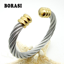 Men Or Women Fashion Europe And America Popular Steel Wire Rope Weaving Twist Bracelet Hot Selling Gift Bracelets(China)
