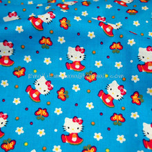 hk150 - 1 Yard Cotton Woven Fabric - Sanrio Cartoon Characters, Hello Kitty, Little Flower and Butterfly - Blue (W105)