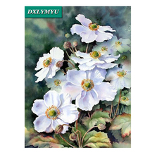 White flower picture home decor 5d diy diamond Painting diamond mosaic making cross stitch set full diamond embroidery