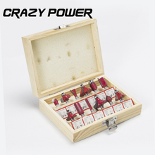 "Crazy Power Wood router bit set 1/4""(6.35mm) Wood Woodworking Cutter Trimming Knife Forming Milling In Wooden Box With Box"