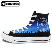 Unisex Converse All Star Hand Painted Shoes Design Police Box Galaxy Blue Sky High Top Canvas Sneakers for Men Women's Gifts