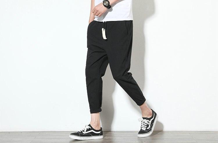 Cotton Linen Joggers Black Men's Harem Pants 5