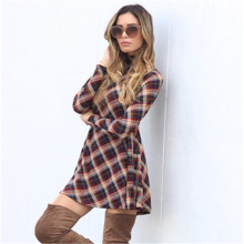 Buy Cotton Autumn Winter Vintage Elastic Dress Female Turtleneck line Robe Vintage Dress Women Long Sleeve Plaid Flannel Dresses for $14.25 in AliExpress store