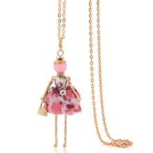 2017 new arrival cute big choker dress doll necklace women statement choker girl jewelry wholesaler party gifts long chain(China)