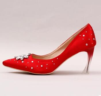 Red pumps shoes woman point toe sexy hoof heel 7cm high heeled ladies red party dinner shoes on sales rhinestones flower TG682<br><br>Aliexpress