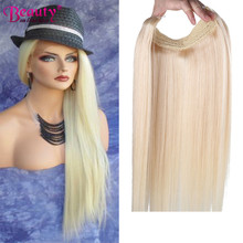 Halo Beauty On Line Hidden Crown European Virgin Hair Remy Human Hair No Clip 100g Ombre Straight Flip Blonde In Hair Extensions