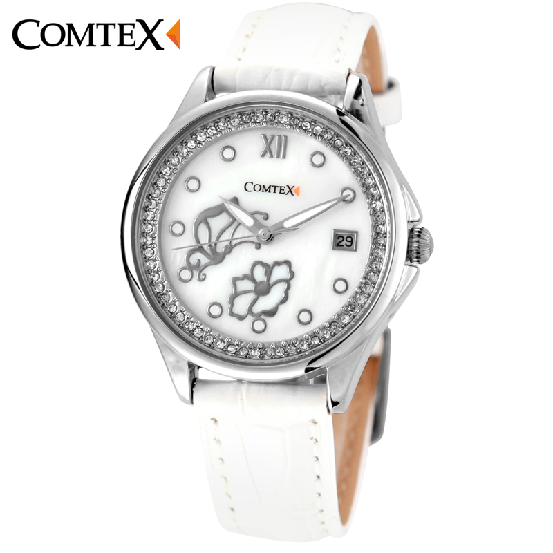 Comtex Women Watch with Mother of Pearl Dial and White Leather Butterfly Fashion ladies watch quartz watch<br>