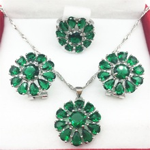 925 Sterling Silver Green Green Jewelry Sets Flower Shaped Earrings/Pendant/Necklace/Rings 6/7/8/9 For Women Free shipping(China)