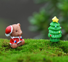 Christmas Tree Bear Decoration miniature Figurine fairy garden ornament building statue love gift resin craft Kids toy TNS036