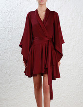 Women Burgundy Sueded Silk Kimono Dress Wrap Front Flounced Robe Dress(China)