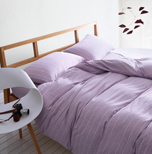 100% Knit Cotton Bedding Sets Stripe Duvet Cover Set Bed Covers Japan Style Home Textile Housse De Couette Twin/Queen/King SJT-3(China)