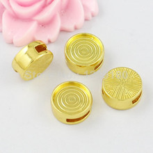 10pcs/lot 24k gold Slider,for Bracelet Necklace Cord Beads watch Chain Beads DIY Accessory 14mm inner dia:12mm fit:9x2.5mmK01951(China)