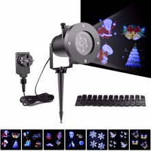 RGB LED Projector Light 12 Dynamic Patterns Lawn Lamps Snowflake Shower Landscape Spotlight Holiday Party Christmas Decoration(China)
