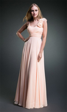 with flower  two shoulder champagne color chiffon long party elegant design bridesmaid dresses plus sizes