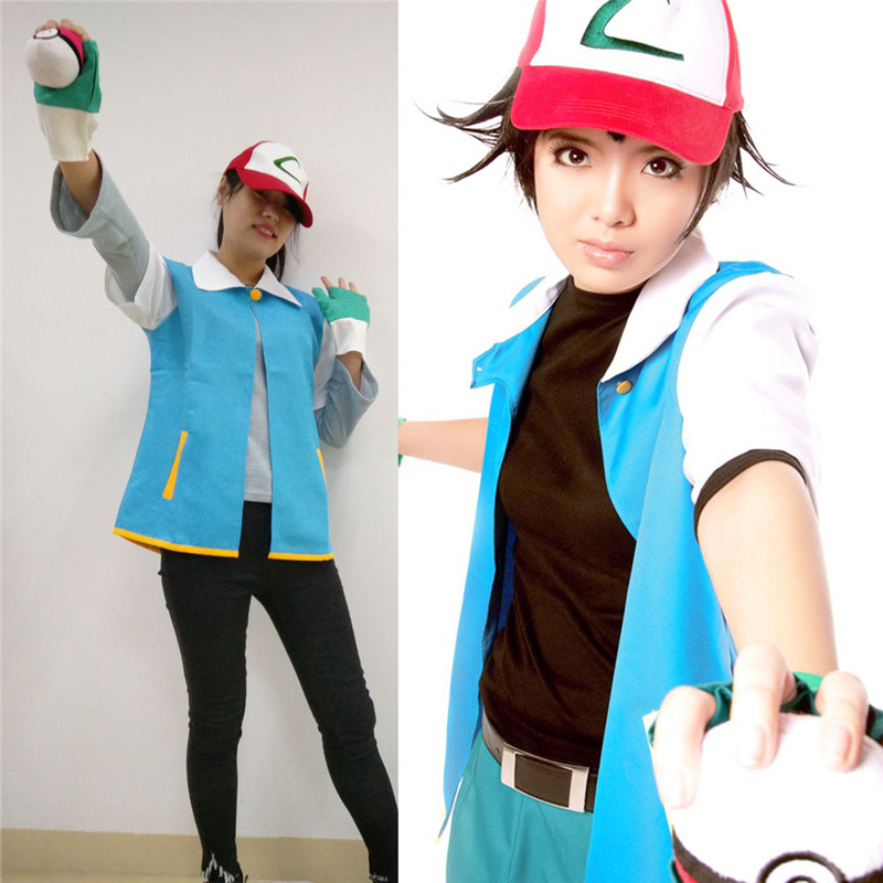 Halloween Party Wear Cosplay Monster Ash Ketchum Trainer Costume Pokemon Go Pocket Shirt Jacket Gloves Hat Ball Japan Anime(China (Mainland))