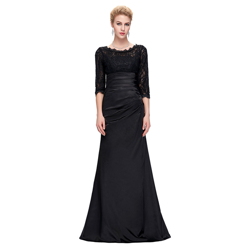 Grace Karin Lace Evening Dress 3/4 Sleeves O-neck Satin Pleated Black Special Occasion Dresses Robe De Soiree Longue 8