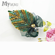 Mymumu Elegant Bow Knot Leaves Colorful Crystal Rhinestone Beads Hair Jewelry Fashion Party Hair Comb Hairpin Accessories