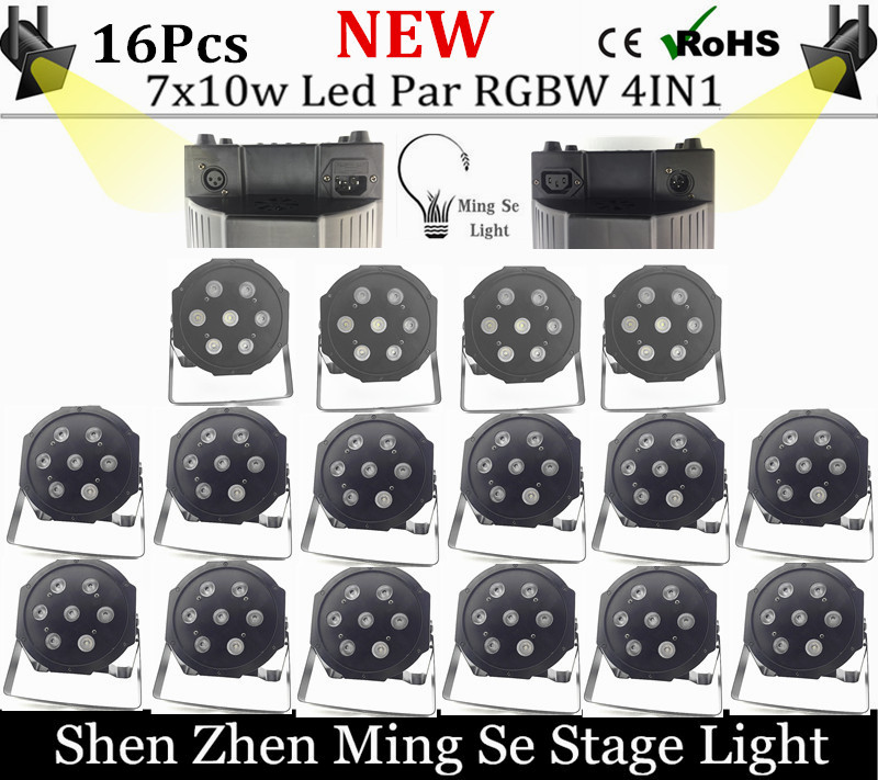 16pcs/lots 7pcs 10w lamp beads 7x10W led Par lights RGBW 4in1 flat par led dmx512 disco lights professional stage dj equipment<br>