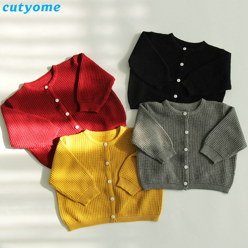 Cutyome Baby Boys Girls Cardigan Sweater Cotton Candy Color Long Sleeve Newborn Boys Clothes For Infant Knitted Outwear Sweaters (3)