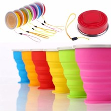 New 200mL Vogue Outdoor Travel Silicone Retractable Folding tumblerful Telescopic Collapsible Folding Water Bottle