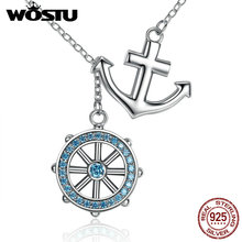 New Free Style Luxury 100% Real 925 Sterling Silver Anchor Pendant Necklaces For Women Fashion Brand Jewelry Lover Gift CQN049(China)