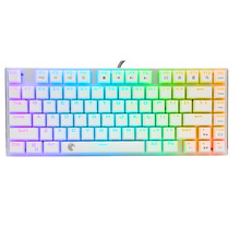 Z-88 White Mechanical Keyboard RGB LED Backlit Compact 81 Keys Anti-Ghosting Detachable Cable Blue Switches Aluminum Keyboard