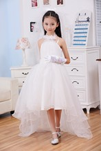 2017 High Quality Bridal Flower Girl Dress party evening Children's white long trailing dress princess 2-12 age Free shipping
