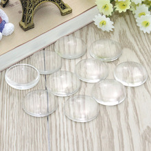 100 pcs/lot 10mm 12mm 16mm 18mm 20mm 25mm Domed Round Transparent Clear Glass Cabochon Cameo Setting Base Set DIY Snap Buttons(China)
